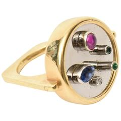 Modernist Sapphire, Ruby, Emerald 18K Yellow & White Gold Dome Ring/ SALE