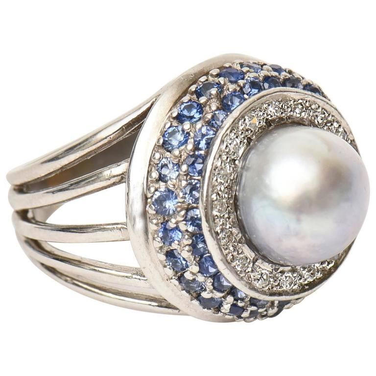White Gold, Cultured Pearl, Diamond & Sapphire Dome Cocktail Ring