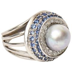 White Gold Cultured Pearl Diamond Sapphire Dome Cocktail Ring