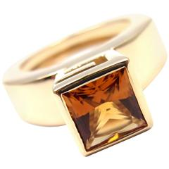 Modernist Gucci Citrine Yellow Gold Ring