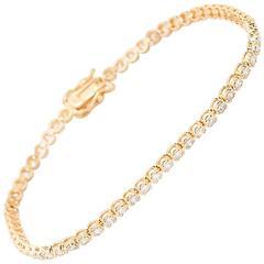 1.56 Carat Diamond Gold Tennis Bracelet