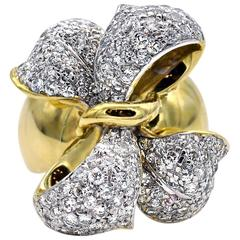 Diamond and Gold Bow Ring