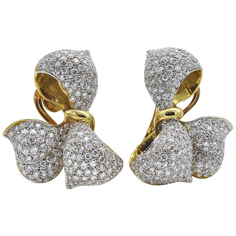 Diamond and Gold Bow Earrings