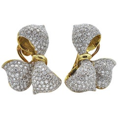 Diamond and 18 Karat Gold Bow Earrings