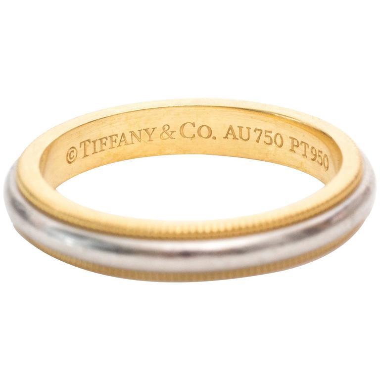 Tiffany Co Platinum 18k Gold 3mm Milgrain Wedding Band: Tiffany And Co. Wedding Band Yellow Gold Platinum Ring For