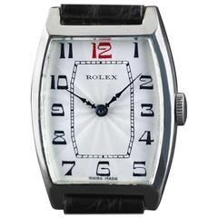 Rolex Sterling Silver Tonneau Wristwatch, 1926