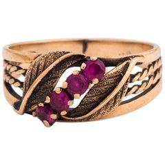 1920s Art Deco Ruby 14 Karat Rose Gold Ring