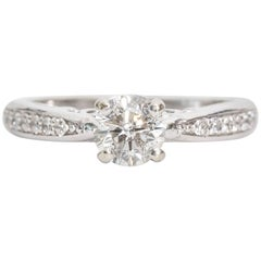 EGL Certified 0.75 Carat Diamond White Gold Engagement Ring