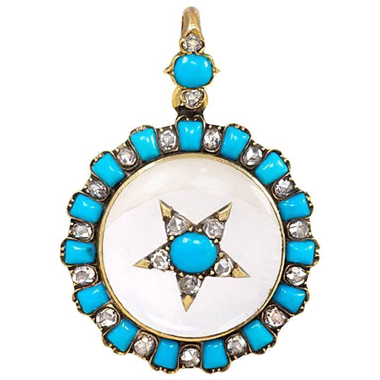 Antique Crystal Turquoise Diamond Gold Locket Pendant 1