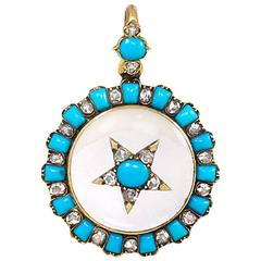 Antique Crystal Turquoise Diamond Gold Locket Pendant