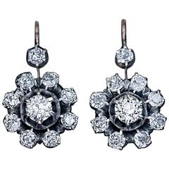 Antique Russian 2.50 Carat Diamond Silver-Topped Gold Snowflake Earrings