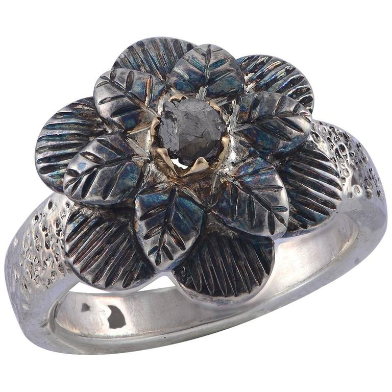 Emma Chapman Diamond Yellow Gold Silver Flower Ring