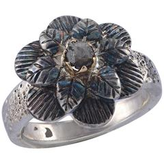 Emma Chapman Diamond 18 Karat Gold Silver Flower Ring