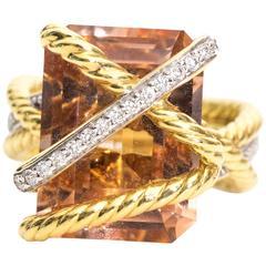 David Yurman Morganite Diamonds Gold Cable Wrap Ring