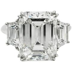 Harry Winston 5.65 Carat GIA Certified Emerald Cut Diamond Platinum Ring