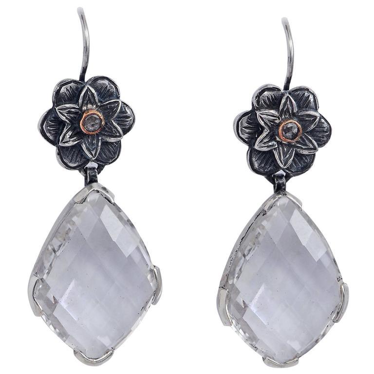 Emma Chapman Diamond Crystal Yellow Gold Silver Chandelier Earrings
