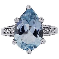 4.62 Carat Aquamarine Diamond White Gold Ring
