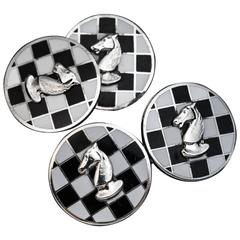 Russian Enameled Silver Chess Themed Cufflinks, 1930s