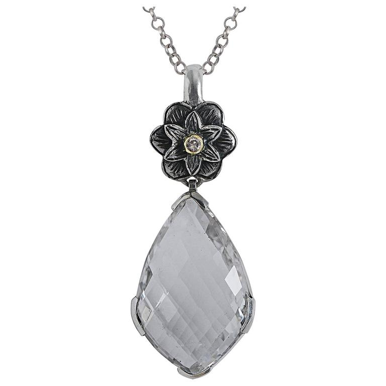 Emma Chapman Talini Diamond Crystal 18 Karat Gold & Silver Pendant