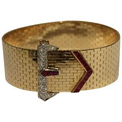 Tiffany & Co. Ruby Diamond Gold Buckle Bracelet