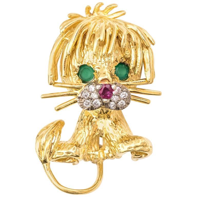 1950s French Lion Brooch 18 Karat Yellow Gold, Diamonds, Emeralds, Ruby