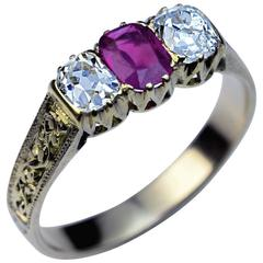 Antique Victorian Three-Stone Ruby Diamond Carved Gold Ring