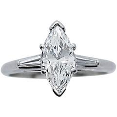 GIA Certified 1.21 Carat Marquise Diamond Platinum Engagement Ring