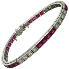 1950s Synthetic Ruby Diamond Gold Line Tennis Bracelet