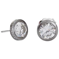 3.00 Carat GIA Certified Diamond Brushed Platinum Stud Earrings