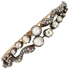 Antique Rose-Cut Diamond Gold Double Serpent Bracelet