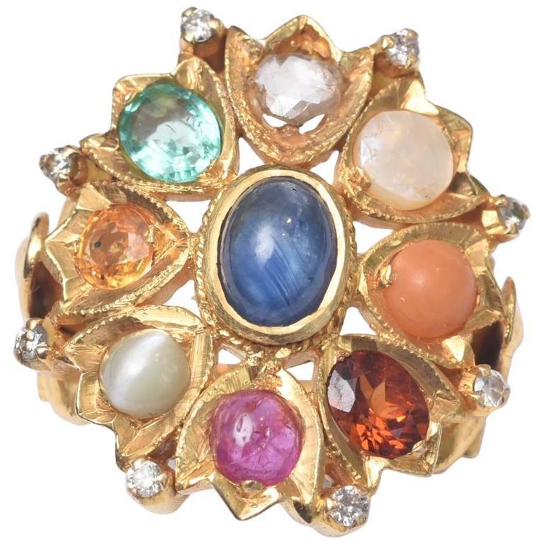 Fabulous Gold Nava Ratna Ring With Precious Stones At 1stdibs