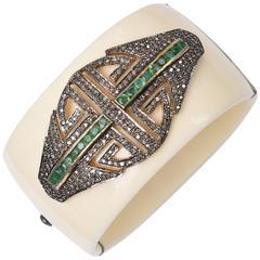 Diamonds and Emeralds on Bakelite Cuff bracelet