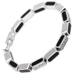 Asprey Onyx Diamond White Gold Bracelet