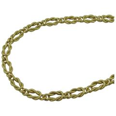 Interlocking Yellow Gold Knot Link Necklace