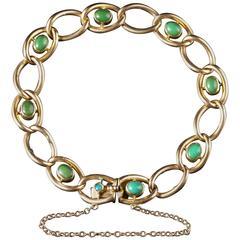 Antique Victorian Turquoise Bracelet 15 Carat Solid Gold