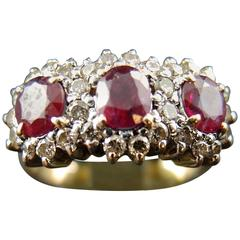 Three-Stone Ring with Rubies and Diamonds, 14 Karat Gold