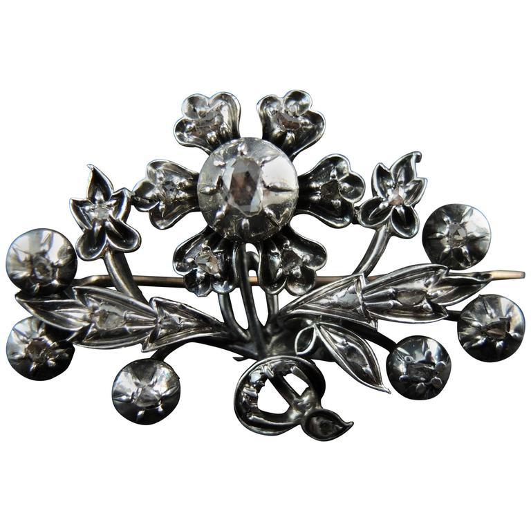 Antique Flower Brooch, Gold and Silver, Rose Cut Diamonds, Napoleon III