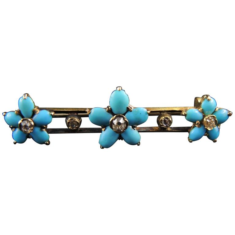 19th Century Antique Turquoise Diamond Flowers Gold Pin Brooch