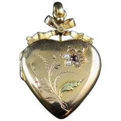 French Heart Gold Locket with Seed Pearls, 19th Century