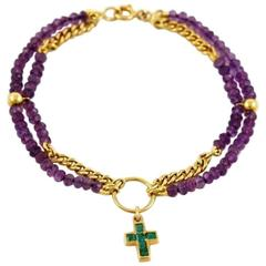 Amethyst Emerald Gold Bracelet