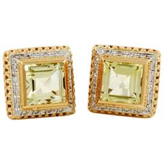Citrine Diamond White and Rose Gold Italian Earrings