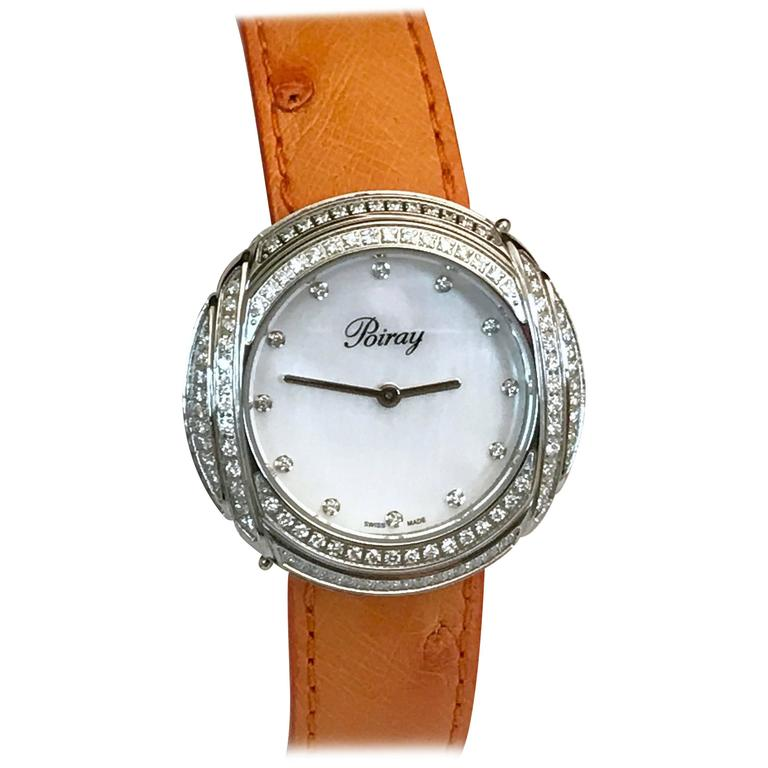 "Poiray Watch ""Ma Préférée"", Steel, Pearl Dial, Diamonds and Ostrich Strap"