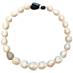 Cultured Pearls and 4.56 Carat Brown Diamonds Necklace