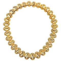 English Etruscan Revival Gold Link Necklace