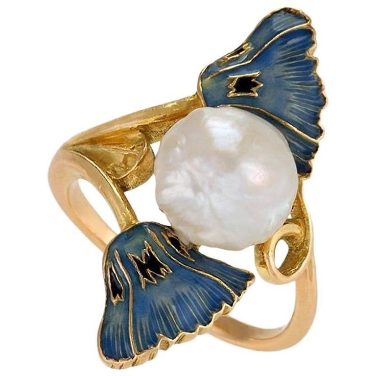 René Lalique French Art Nouveau Pearl Gold and Enamel Ring