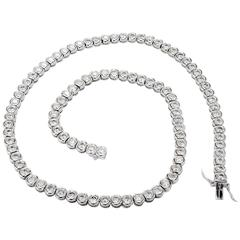 12.03 Carat Diamond Bezel Set Platinum Necklace