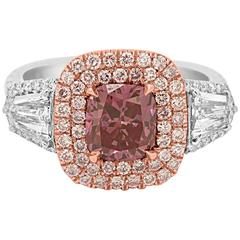 GIA Certified Vivid Purplish Pink Diamond Double Halo Two Color Gold Ring