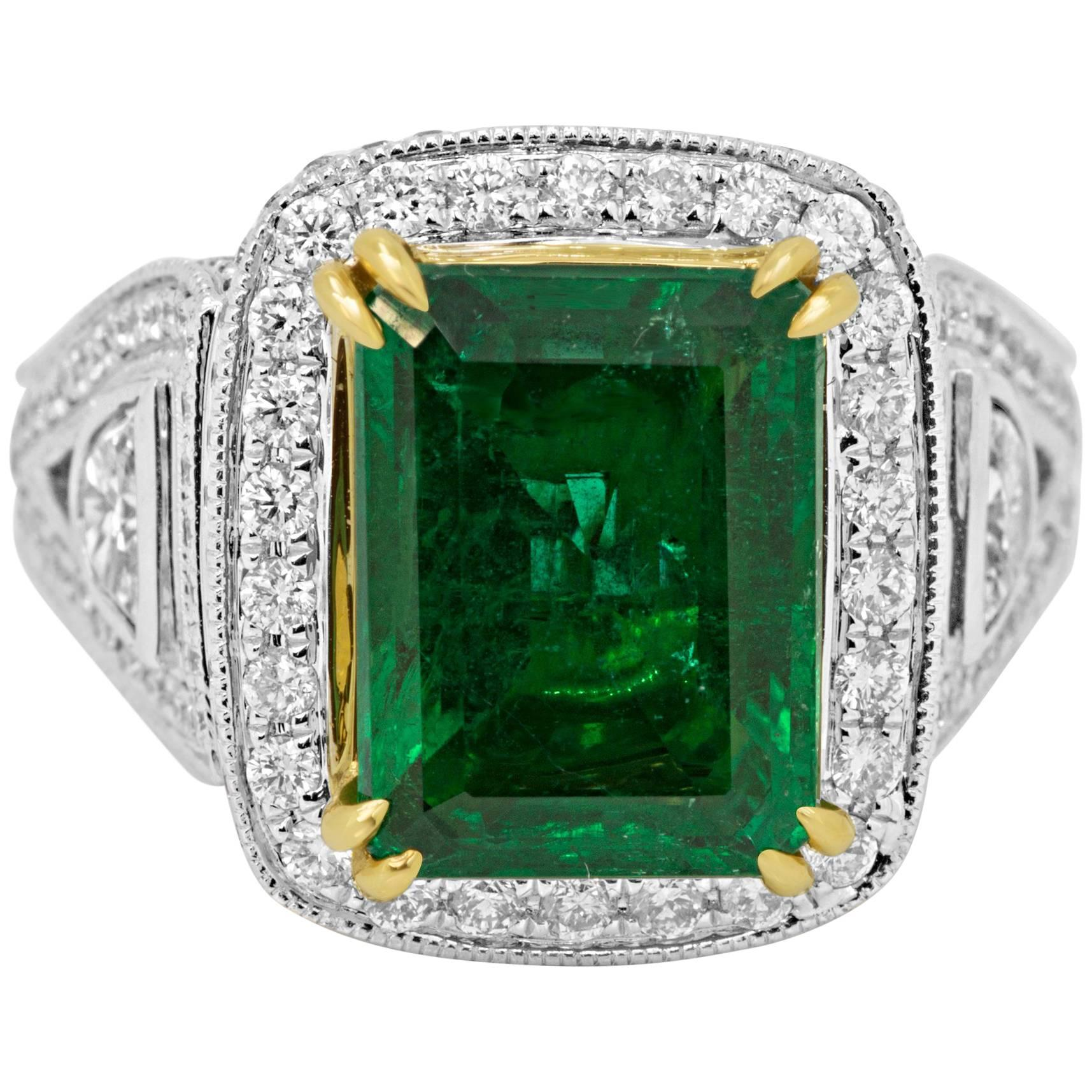 GIA Certified 4.38 Carat Emerald Diamond Two Color Gold Halo Bridal Fashion Ring