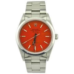 Rolex Stainless Steel Air-King Custom Orange Dial Wristwatch Ref 14000