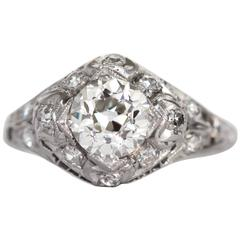 1910s Edwardian .85 Carat Diamond Platinum Engagement Ring